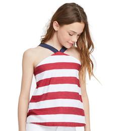 Habitual Girl Harriet Stripe Baby Doll Top - Red