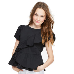Habitual Girl Amber Asymetrical Pleated Top - Black