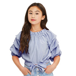 Habitual Girl Joyce Gathered Top - Indigo