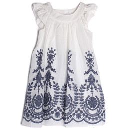 Isobella & Chloe Crystal Creek Embroidered Dress - Navy