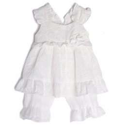 Isobella & Chloe Cotton Clouds 2pc Tunic & Bloomer Set - White