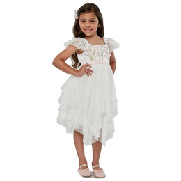 Biscotti Spring Gardens Embroidered Bodice Tulle Dress - Ivory