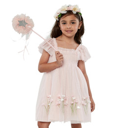 Biscotti Spring Gardens Embroidered Hem Tulle Dress - Pink