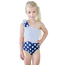 Kate Mack Bathing Beauty 1pc One Shoulder Swimsuit - Navy/White