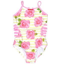 Kate Mack Garden Rose 1pc Side Strap Swimsuit - Pink/Green