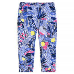 Deux Par Deux Flower Fields Capri Legging - Blue Print