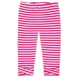 Deux Par Deux Flower Fields Capri Legging - Pink Stripe