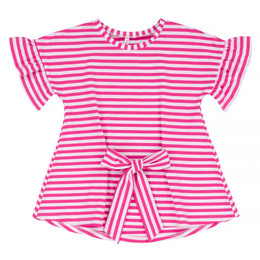 Deux Par Deux Flower Fields Front Tie Tunic Top - Pink Stripe