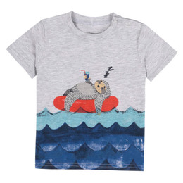 Deux Par Deux All Aboard, Matey Printed Tee - Floating Beaver