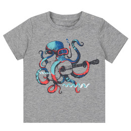 Deux Par Deux All Aboard, Matey Printed Tee - Musical Octopus