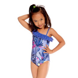 Deux Par Deux Splish Splash 1pc One Shoulder Swimsuit - Flower Fields