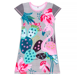 Deux Par Deux Splish Splash Beach Cover-Up Dress - Flamingo & Cactus