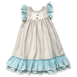 Little Prim Into The Clouds Genevieve Dress - Linen & Aqua