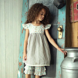Little Prim  Into The Clouds Adelaide Dress - Ticking Stripe & Floral