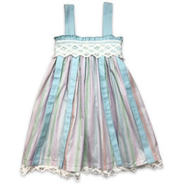 Little Prim  Into The Clouds Charleston Dress - Multi Stripe Aqua