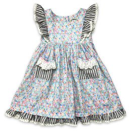 Little Prim  Into The Clouds Alice Dress - Floral & Ticking Stripe