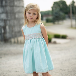 Little Prim  Into The Clouds Ella Dress - Aqua