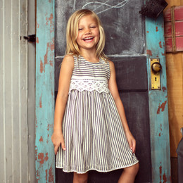Little Prim  Into The Clouds Ella Dress - Ticking Stripe