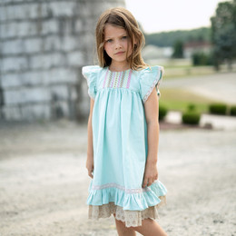Little Prim  Into The Clouds Clara Dress - Aqua