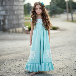 Little Prim  Into The Clouds Ireland Maxi Dress - Aqua
