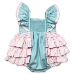 Little Prim  Into The Clouds Maya Romper - Aqua & Pink