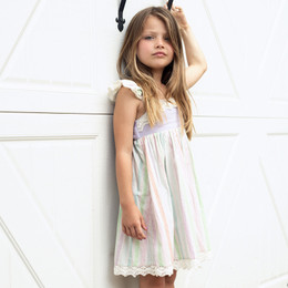 Little Prim  Farm Fresh Isadora Dress - Multi Stripe Lavender