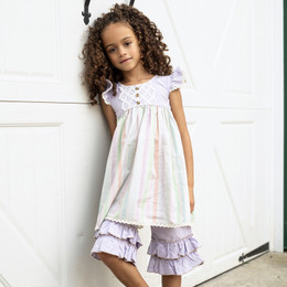 Little Prim  Farm Fresh Adelaide Dress - Multi Stripe Lavender