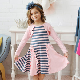 Lemon Loves Lime Bolero Stripe Dress - Rose Shadow / Orion Blue