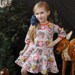 Lemon Loves Lime Autumn Owl Dress - Multi
