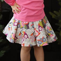 Lemon Loves Lime Autumn Owl Twirl Skirt - Multi