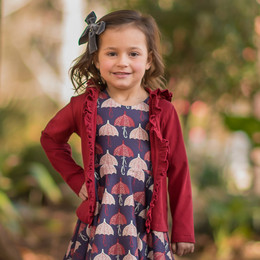 Evie's Closet Ruffled Hooded Jacket - Burgundy