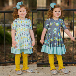 Evie's Closet Reversible Knit Dress - Aqua / Mustard