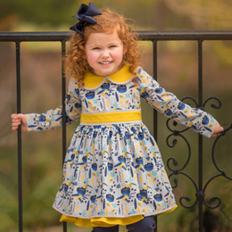 Evie's Closet Feather Layered Dress - Navy / Mustard