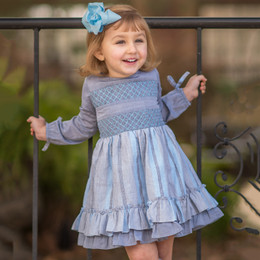 Evie's Closet Smocked Layered Dress - Blue/Grey