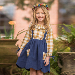 Evie's Closet Plaid 2pc Dress & Shirt Set - Navy / Yellow