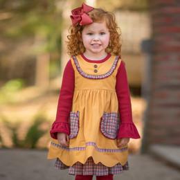 Evie's Closet Plaid Trim 2pc Dress & Shirt Set - Mustard / Red