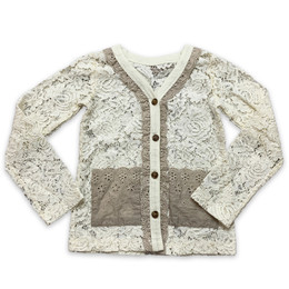Little Prim   Honeycomb Emma Cardigan - Cream Lace