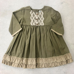Little Prim   Honeycomb Evie Dress - Olive