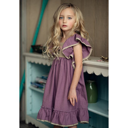 Little Prim Honeycomb Maya Dress - Plum
