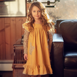 Little Prim   Honeycomb Ryan Dress - Mustard (**lace top sold separately**)