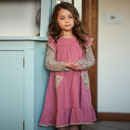 Little Prim   Honeycomb Ryan Dress - Rose (**lace top sold separately**)