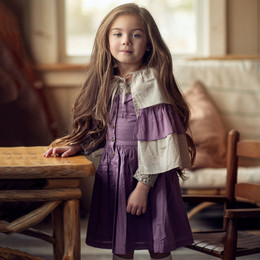 Little Prim   Honeycomb Amelia Dress - Plum (**lace top & cape sold separately**)