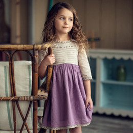 Little Prim   Honeycomb Charlie Dress - Plum