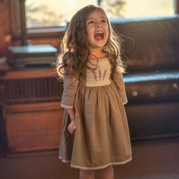 Little Prim Honeycomb Ember Dress - Olive