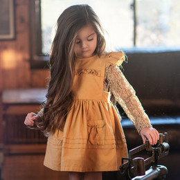 Little Prim   Honeycomb Ivy Jumper - Mustard (**lace top sold separately**)