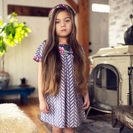 Mustard Pie Indigo Orchard 2pc Claire Dress & Hair Clip - Plum