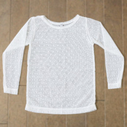 Be Girl Clothing Fall / Holiday Dot Sheer Top - Ivory