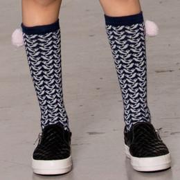 Deux Par Deux  Snowbirds Knee Socks w/Pom Poms - Peacoat
