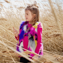 Deux Par Deux Unicorns & Rainbows Faux Fur Vest - Multi