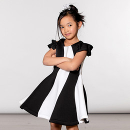 Deux Par Deux  Neo Chic Scuba Swirl Dress - Black / White